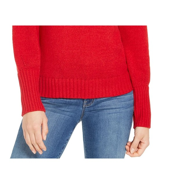 Style & Co Women's Puffy-Sleeve Sweater Dark Red Size X-Large