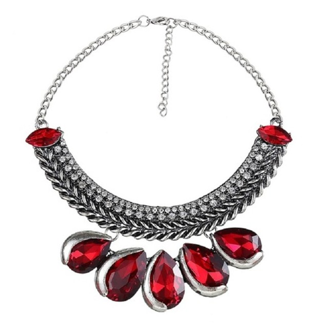 Novadab MARQUISE CHERRY RED TEAR DROP BLING STATEMENT NECKLACE