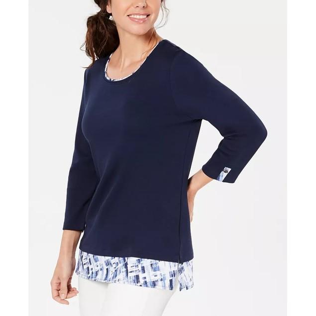 Karen Scott Women's Layered-Look Solid & Plaid Top Navy Size X-Small