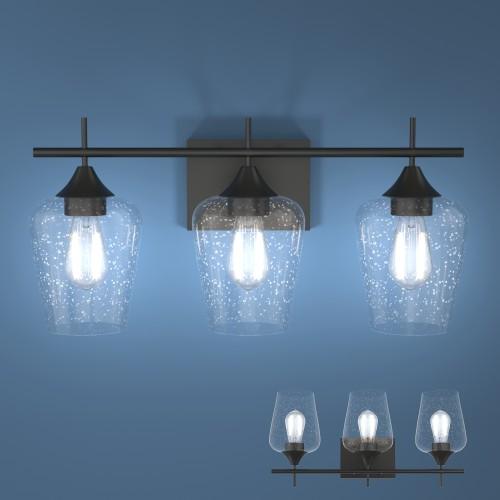 Costway 3-Light Wall Sconce Modern Bathroom Vanity Light Fixtures w/ Clear