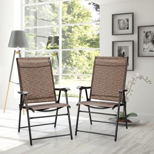 Costway  2PCS Outdoor Patio Folding Chair Camping Portable Lawn Garden W/Ar