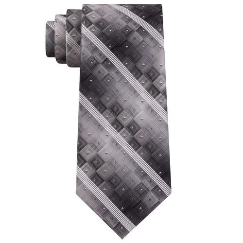 Van Heusen Men's Aaron Stripe Geometric Tie Black Size Regular
