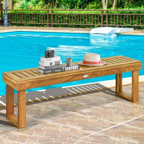Costway 2Pcs 52'' Outdoor Acacia Wood Dining Bench Chair Seat Slat Garden
