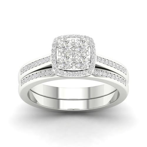 De Couer S925 Sterling Silver 1/4ct TDW Diamond Halo Bridal Set I-J,I2