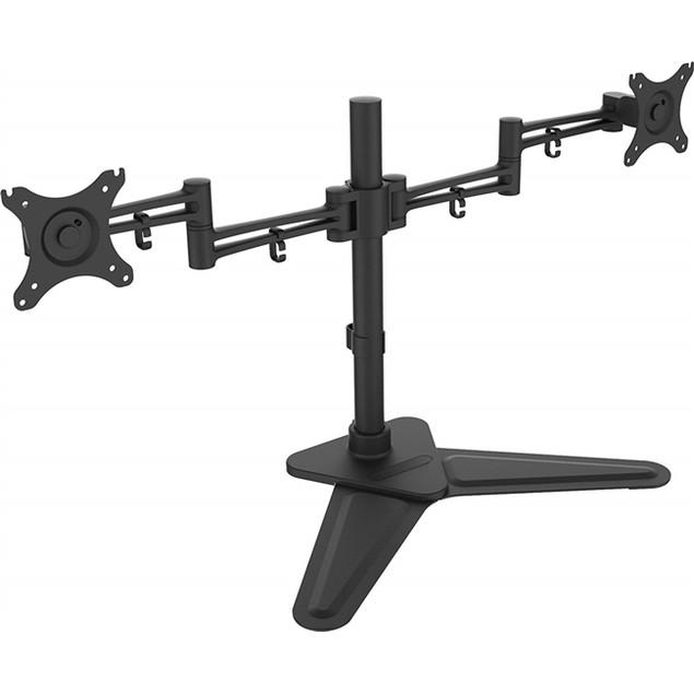 "Dual Monitor Free Standing Desk Mount 10""- 30"" Adjustable Tilt Rotate"