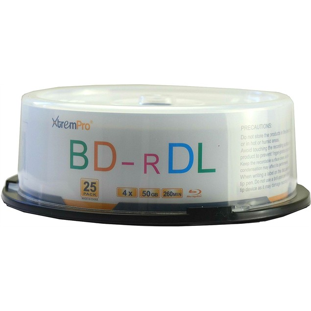 Blu-Ray BD-R DL 4X 50GB 260 Min Double Layer 25 PK Blank Disc in Spindle