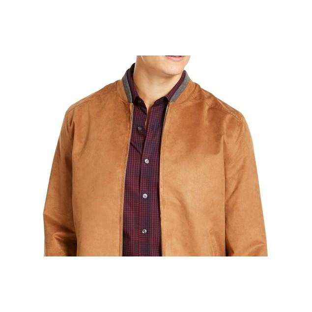 Tasso Elba Men's Faux Suede Bomber Jacket  Brown Size XX-Large