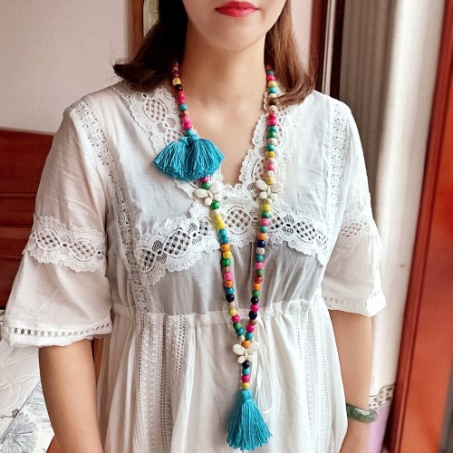 Female Long Exotic Bohemian Tassel Necklace