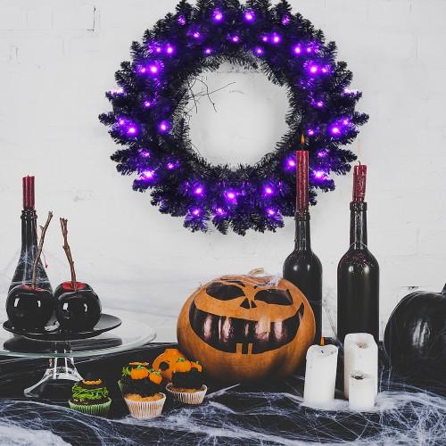 Costway 24 inch Pre-lit Halloween Wreath w/ 35 LED Lights