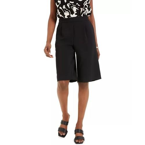 Alfani Women's Pleated Pull On Shorts Black Size Medium