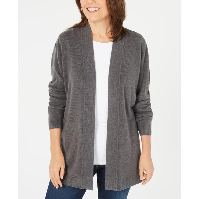 Karen Scott Wo Petite Open-Front Sweater Cardigan Gray Extra Large