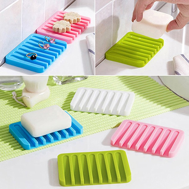 Bathroom Silicone Soap Dish Storage Holder Soapbox Plate Tray Drain
