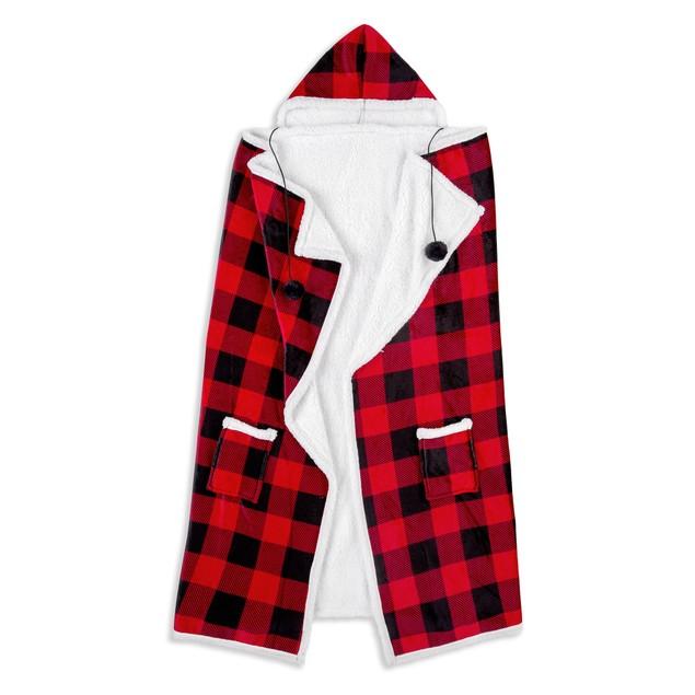 "Ultra Soft Buffalo Plaid Wearable Hooded Throw Blanket, 51"" x 71"""