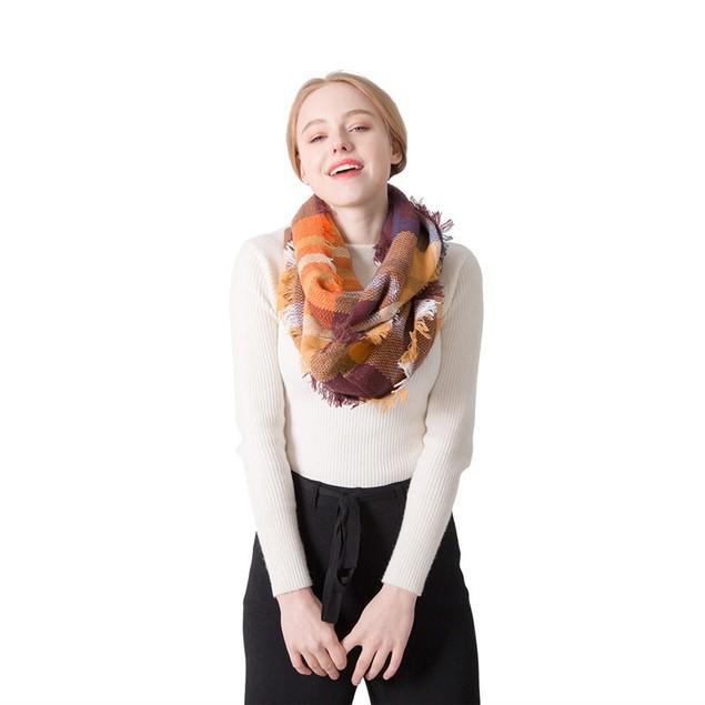 Ladies Cashmere Colorful Plaid Scarf
