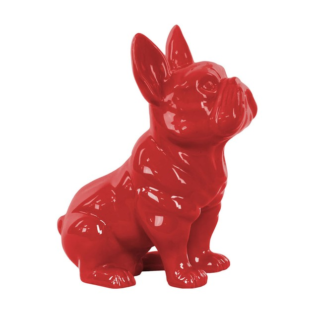 Ceramic Sitting French Bulldog Figurine With Pricked Ears Gloss Finish Red