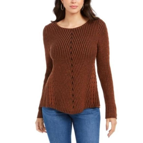 Style & Co Women's Scalloped Hem Ribbed Knit Sweater Brown Size Large