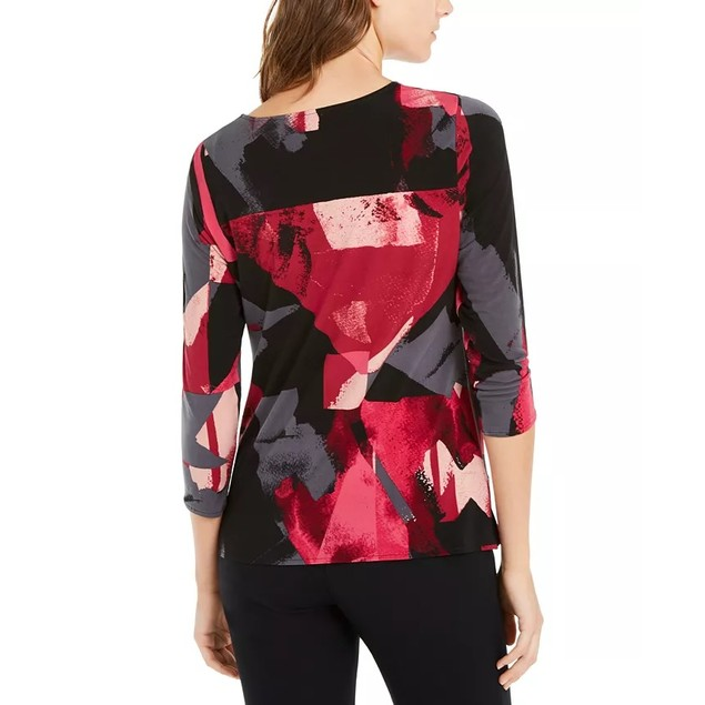 Alfani Women's Printed Draped Top Pink Size Medium