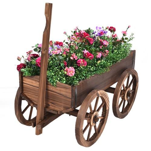 Costway Wood Wagon Flower Planter Pot Stand W/Wheels Home Garden Outdoor De