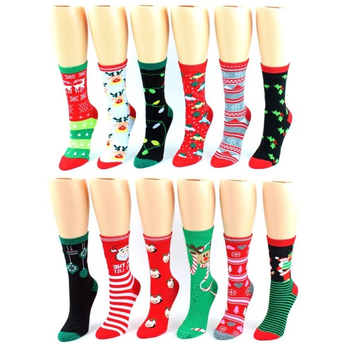 6-Pairs Women Holiday Crew Socks