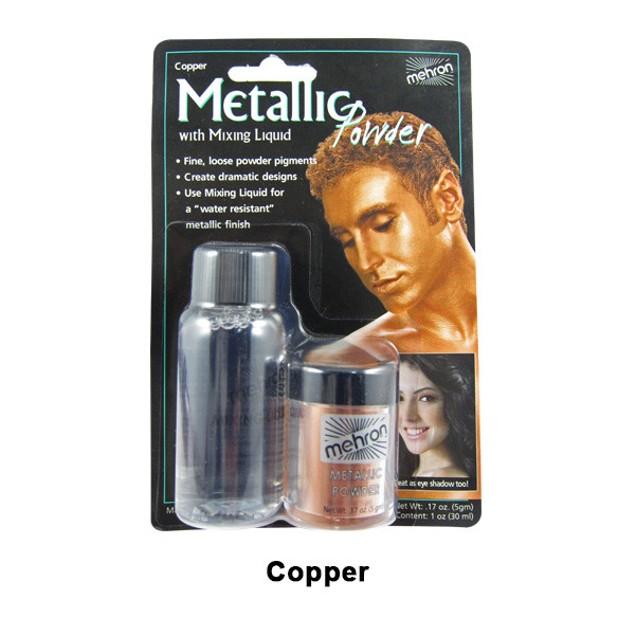 Copper Mehron Metallic Powder with Mixing Liquid Theatrical Stage Makeup FX