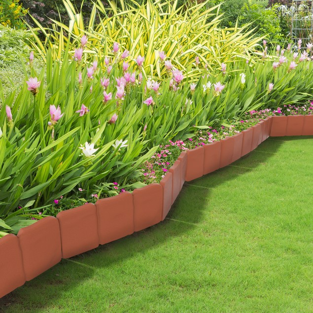 Plastic Garden Edging Stone-Look Border- Decorative Flower Bed Fence  8 Ft