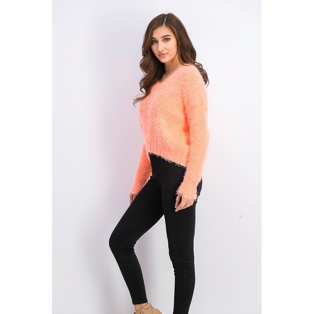 Freshman Juniors Fuzzy V-Neck Sweater Orange Size Extra Small
