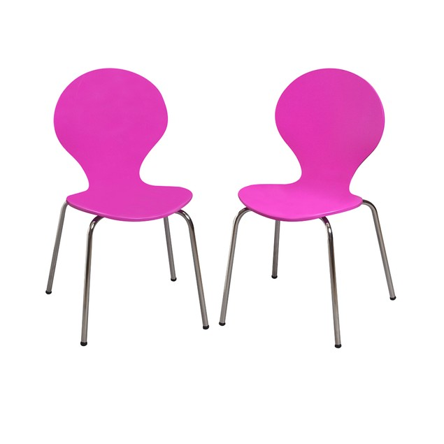 Gift Mark Childrens 2 Chair Set With Chrome Legs (Purple Color)