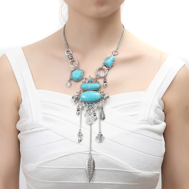 Novadab Cochella Boho Vibes Layered Leafs Turqouise Necklace (Weight- 69gr)