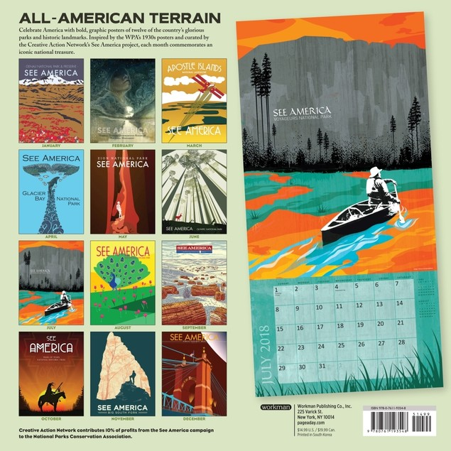 See America Wall Calendar, Travel Posters by Workman Publishing