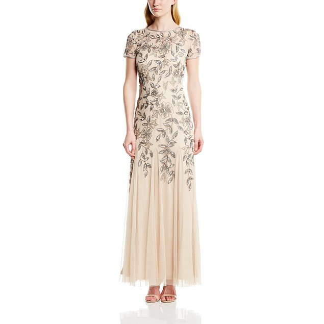 Adrianna Papell 100% Polyester Women's Floral Beaded Godet Gown, 4,