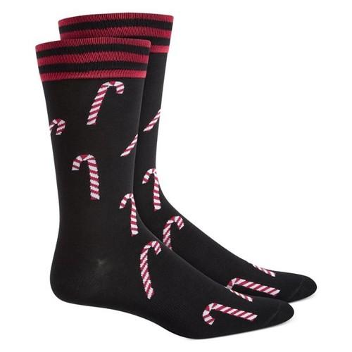 Bar III Men's Candy Cane Socks Black Size Regular