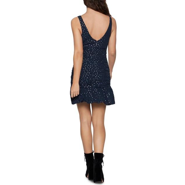 BCBGeneration Ruched Metallic Dot-Print Shirred Flounce Mini Dress, 8, Dark
