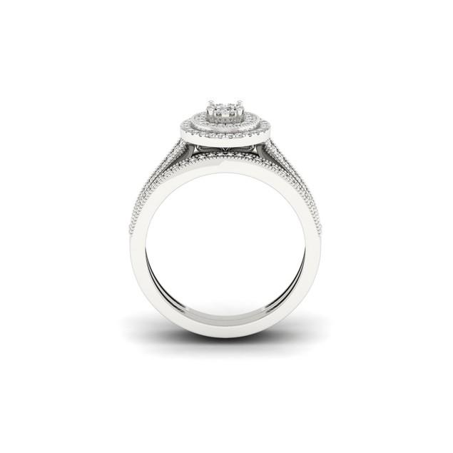 De Couer S925 Sterling Silver 1/3ct TDW Diamond Halo Bridal Set I-J,I2