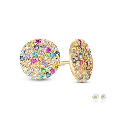10K Gold Multi-Color Zirconia Circle stud Earrings w/ Secure Friction Backs