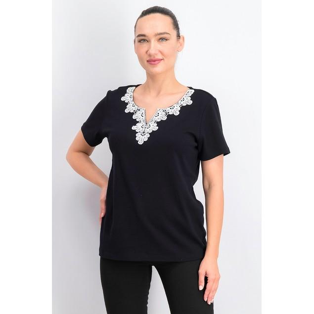 Karen Scott Women's Crochet-Trim Split-Neck Top Black Size Small