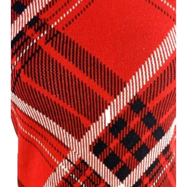 Charter Club Women's Petite Plaid Knit Sweater Red Size Petite