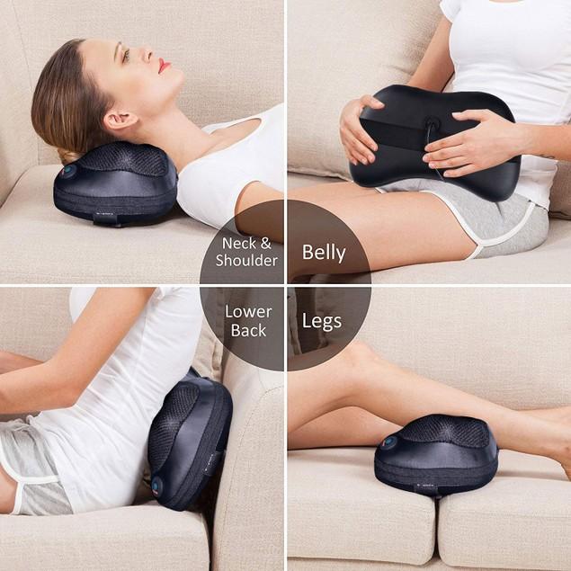 Costway Shiatsu Shoulder Neck Back Massage Pillow W/Heat Deep Kneading Mass