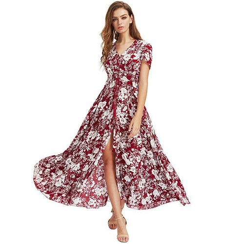 Women's Floral Boho Button Up Split Maxi Dress