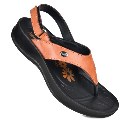 AEROSOFT Tuck Velcro Ankle Strap Comfortable Thong Arch Support Sandals for Women