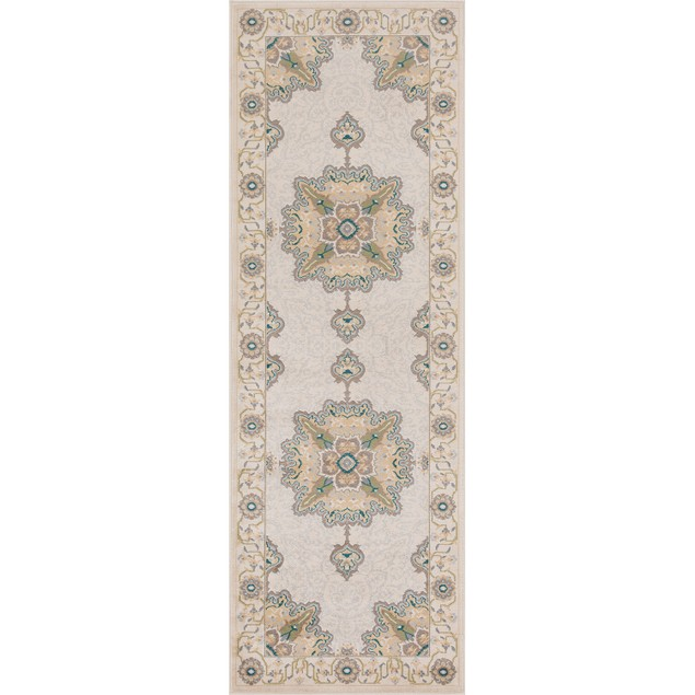 Traditional Indoor Area Rug Collection, Textured Medallion Border Runner