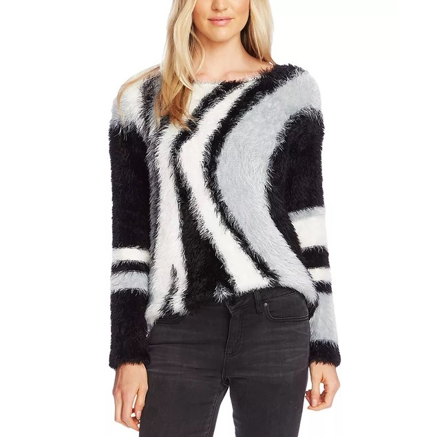 Vince Camuto Women's Abstract Stripe Eyelash Sweater Black Grey Size Medium