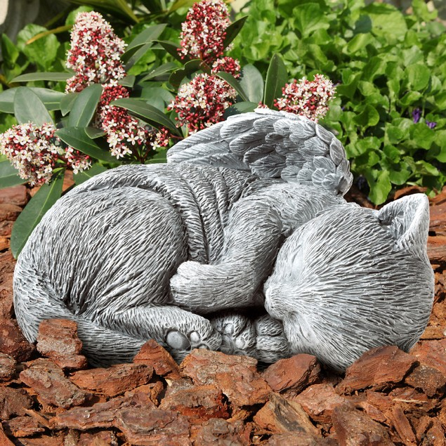 Pet Memorial Statue-Sleeping Angel Cat  Keepsake Sculpture-Grave Marker