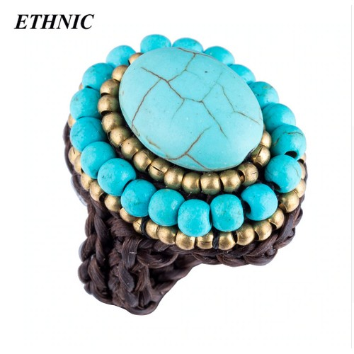 Stone Alloy Handmade Oval Shape Band Ring For Women