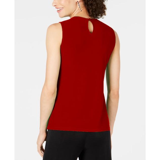 INC International Concepts Women's Crisscross Cutout Top Red Size Small