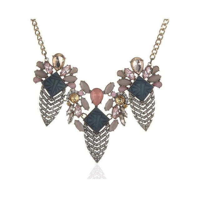 Novadab Geo-Inspired Floral Mix Azure Rhinestone Women Necklace