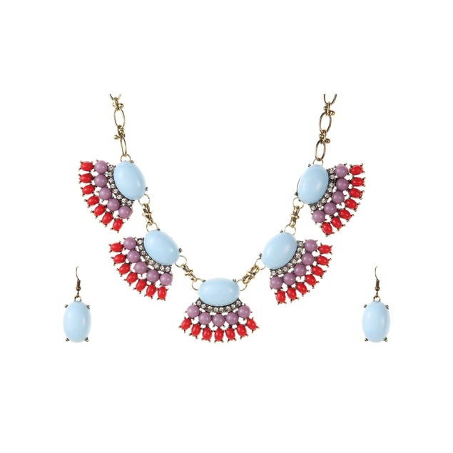 Novadab Coral Mauve Fan Boho Vibes Necklace Set