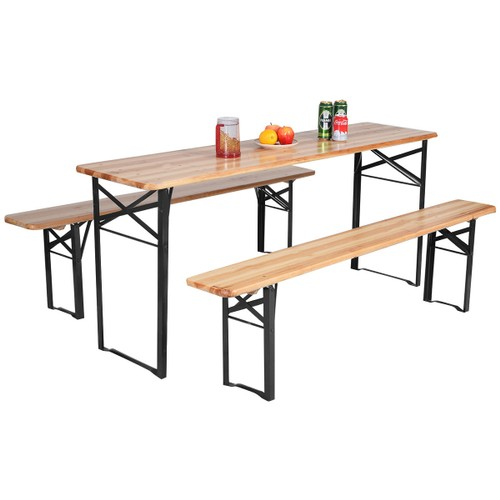 Costway 3 PCS Beer Table Bench Set Folding Wooden Top Picnic Table Patio Ga