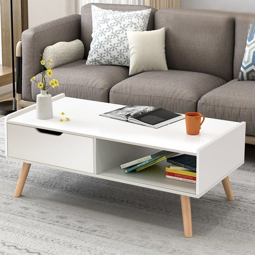 Costway Modern Coffee Table Side End Table Cabinet With Drawers Solid Wood