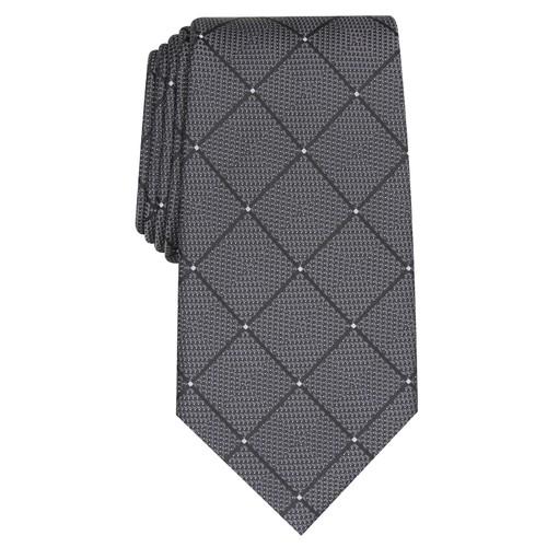 Perry Ellis Men's Burr Classic Geo Grid Tie Gray One Size
