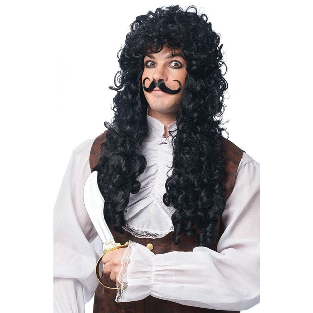 Captain Hook Wig and Mustache Curly Black Peter Pan Mustache Pirate Adult